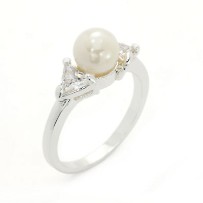 Sparkle Allure White Simulated Pearl Cocktail Ring