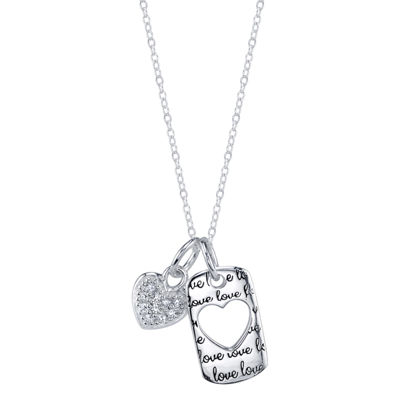 Footnotes Womens Clear Sterling Silver Pendant Necklace