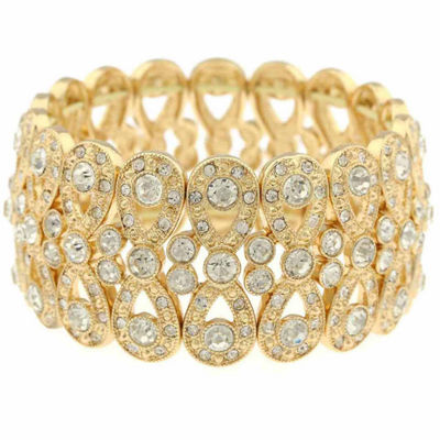 Monet Clear And Goldtone Stretch Bracelet