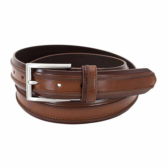 Florsheim® 32MM Double Ribbed Leather Belt