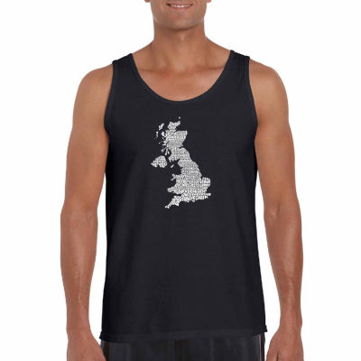 Los Angeles Pop Art God Save the Queen Word Art Tank Top- Men's Big and Tall