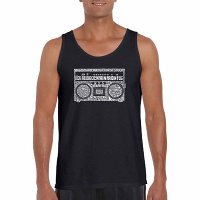 Los Angeles Pop Art Boom Box 80's Rap Hits Word Art Tank Top- Men's Big and Tall
