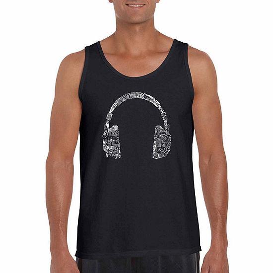 "Los Angeles Pop Art ""Headphones-Languages"" Word Art Tank Top- Men's Big and Tall"