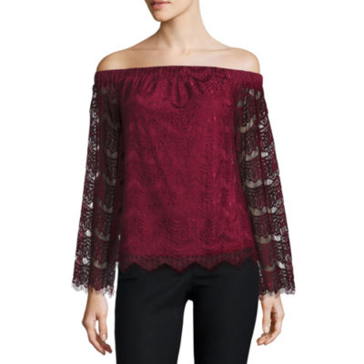 Fire Long Sleeve Knit Blouse-Juniors