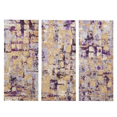 Madison Park Glided Violet Gel Coat Printed 3-pc. Canvas Art