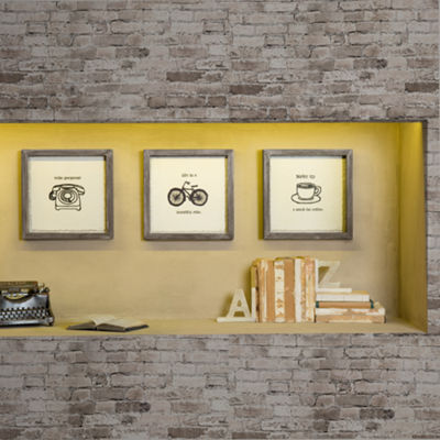 Intelligent Design Morning News Framed Gel Coat 3-pc. Canvas Art