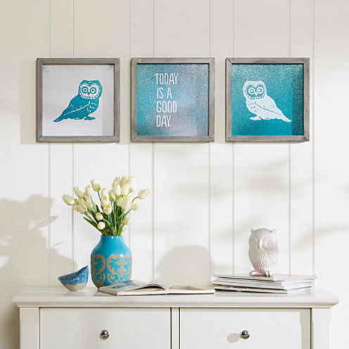 Intelligent Design Wise As An Owl Gel Coat 3-pc. Canvas Art