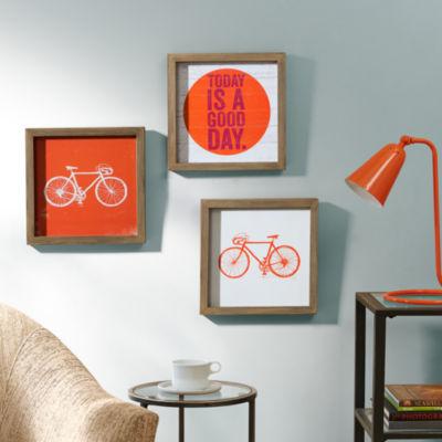 Intelligent Design Orange Today Is A Good Day 3-pc. Canvas Art
