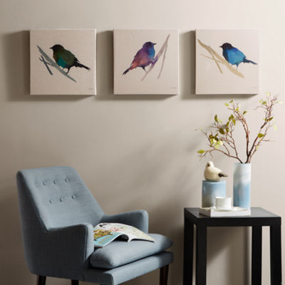 Madison Park Branch And Flight Linen 3-pc. Canvas Art