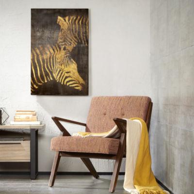 INK+IVY Lux Zebras Gold Metallic Printed Canvas Art