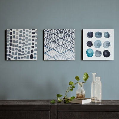 INK + IVY Monochrome Trio Printed Box Canvas Art