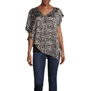 Alyx Short Sleeve V Neck Charmeuse Blouse