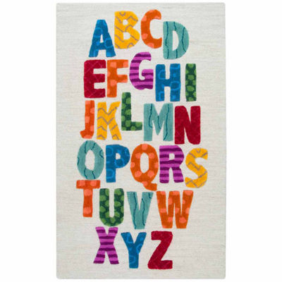 Rizzy Home Play Day  Collection Ayla Alphabet Rectangular Rug