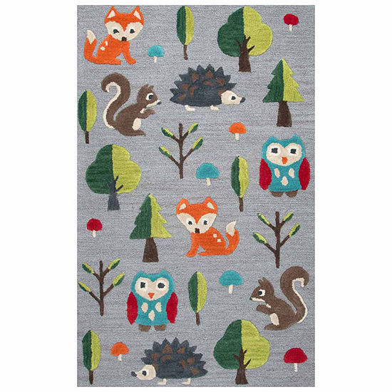 Rizzy Home Play Day  Collection Cassidy Woodland Creatures Rectangular Rug