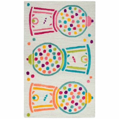 Rizzy Home Play Day  Collection Eloise Bubble Gum Machine Rectangular Rug