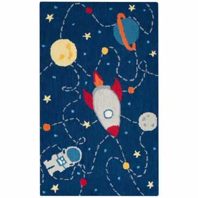 Rizzy Home Play Day  Collection Paris Outerspace Novelty Rectangular Rug
