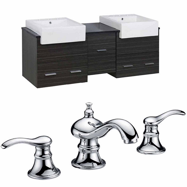 American Imaginations Xena Farmhouse Rectangle Wall Mount 8-in. o.c. Center Faucet Vanity Set