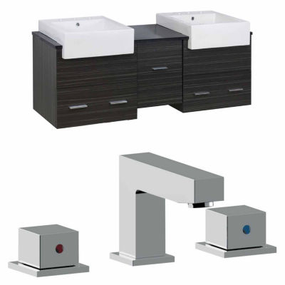 American Imaginations Xena Farmhouse Rectangle Wall Mount 8-in. o.c. Left-Right Faucet Vanity Set