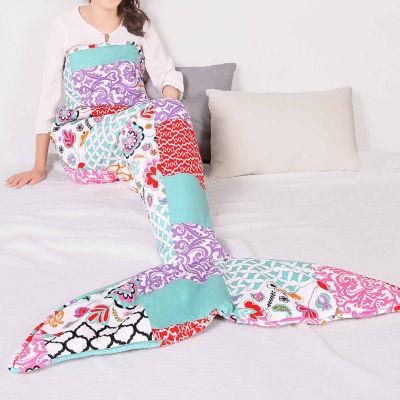 """Lush Decor Brookdale Patchwork Mermaid Shape Sherpa Throw"