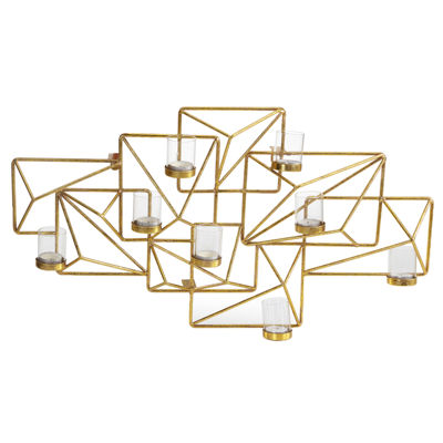 Danya B. Sparkling Gold Geometric Candle Wall Sconce