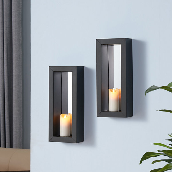Danya B. Set of 2 Vertical Mirror Pillar Candle Sconces with Metal Frame