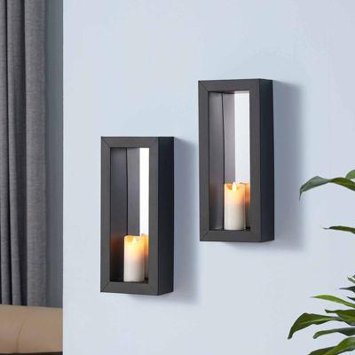Danya B. Set of 2 Vertical Mirror Pillar Candle Sconces with Metal Frame