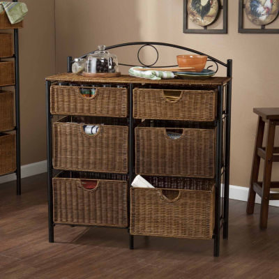 """Home Decor Collections Iron/Wicker Storage Chest"