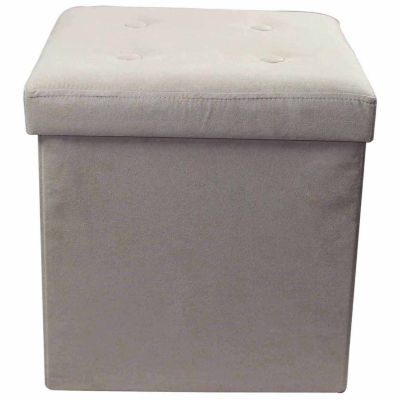 Sorbus Faux Suede Storage Ottoman Cubeu2013Foldable/Collapsible With Button Lid  Cover