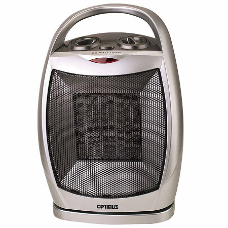 Portable Oscillating Ceramic Heater with Thermostat, One Size , Silver