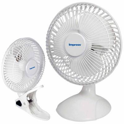 Impress 6 Inch Dual Purpose 2-in-1 Clip/Desk Fan- White