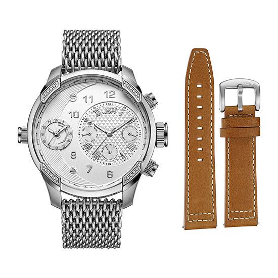 Jbw Diamond Mens Silver Tone 2 Pc Watch Boxed Set J6355 Seta