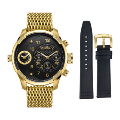 JBW Diamond Mens Gold Tone 2-pc. Watch Boxed Set-J6355-Setb