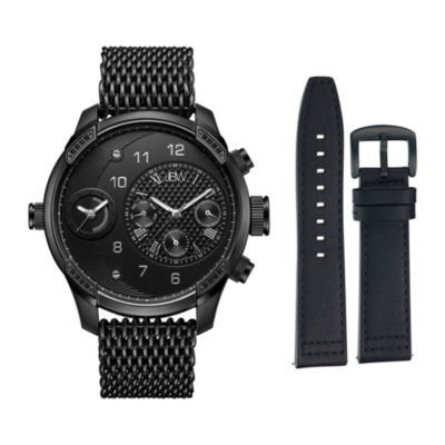 JBW Diamond Mens Black Stainless Steel Watch Boxed Set-J6355-Setc