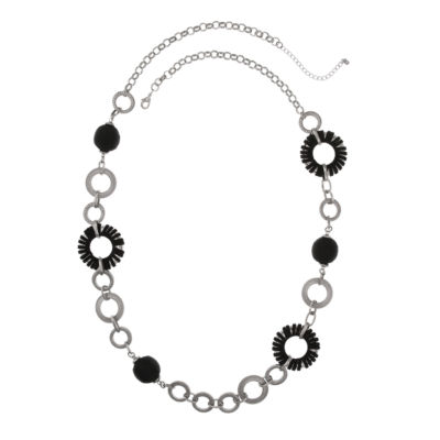 EL by Erica Lyons Black Silver Womens 40 Inch Link Necklace