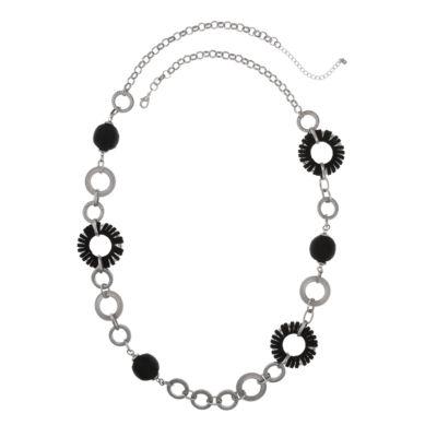 EL by Erica Lyons El By El Black Silver Womens 40 Inch Link Necklace