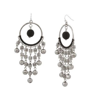 EL by Erica Lyons Black Silver Chandelier Earrings
