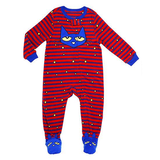 Pete The Cat Boys Microfleece Footed Pajamas Long Sleeve Round Neck