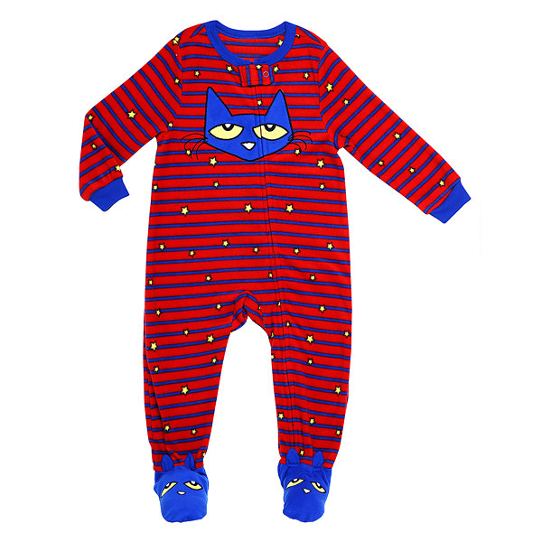 Pete The Cat Long Sleeve Footed Pajamas-Preschool Boys