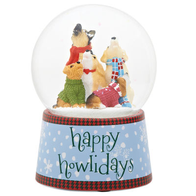 Roman 5.5 Inch Musical Happy Howlidays Snow Globe