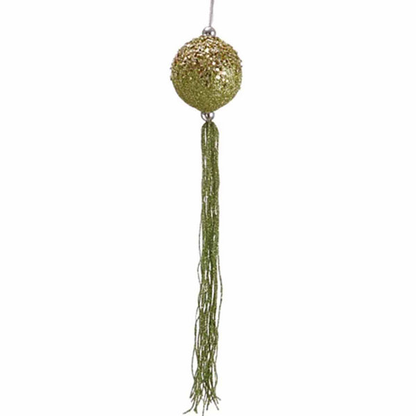 "12"" Christmas Brites Lime Green Glitter Christmas Ball Ornament with Tassels"""