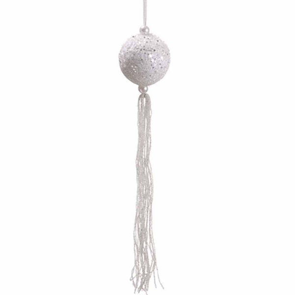 "12"" Winter Frost White Glitter Christmas Ball Ornament with Tassels and Beads"""