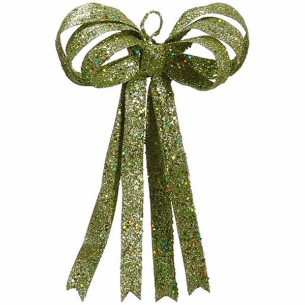 "13.5"" Christmas Brites Lime Green Glitter Christmas Ribbon Bow Decoration"""
