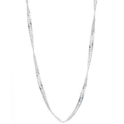 "Silver Reflections™ 16-24"" Silver-Plated Singapore Chain"