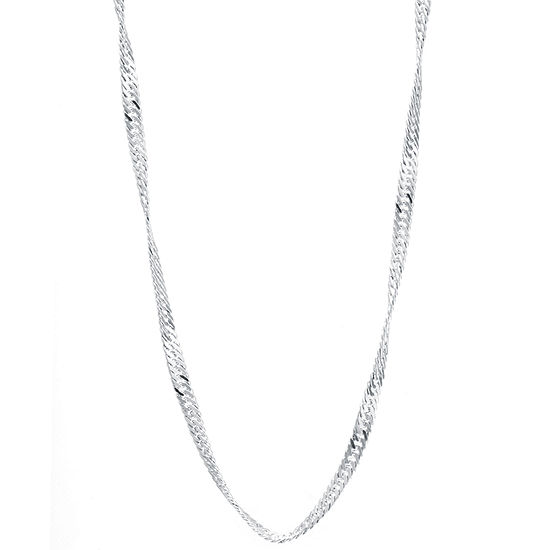 Silver Reflections 16 24 Silver Plated Singapore Chain
