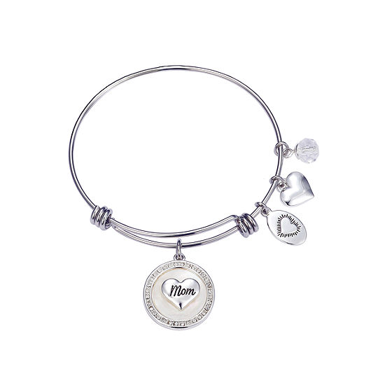Footnotes Mom Clear Silver Over Brass Stainless Steel Bangle Bracelet