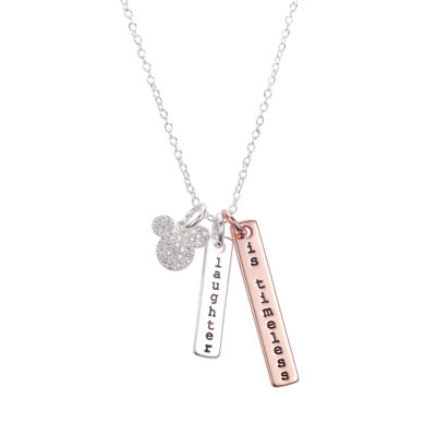 Disney Disney Womens Clear Silver Over Brass Pendant Necklace