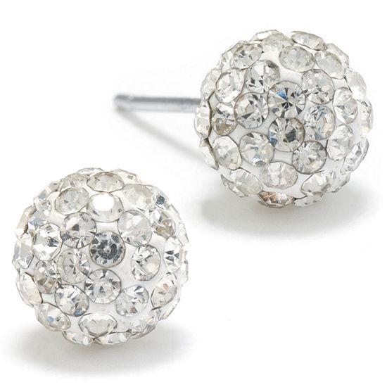 Silver Treasures White 7.7mm Stud Earrings