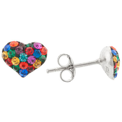 Silver Treasures Multi Color Crystal Heart Stud Earrings