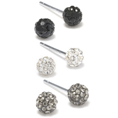 Silver Treasures Sterling Silver Black, WHite & Gray Crystal Stud Earrings