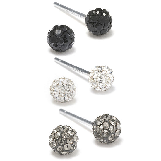 Silver Treasures Sterling Silver Black, WHite & Gray Crystal Stud Earrings